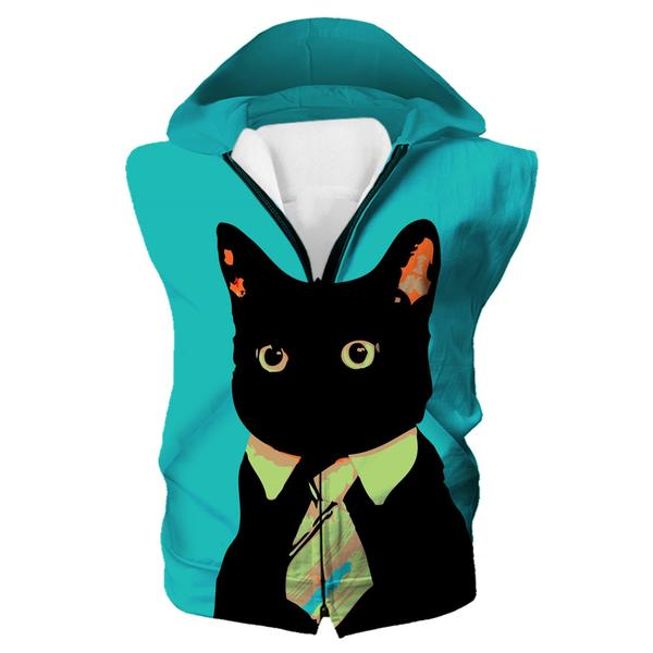 Business Cat Hooded Tank - Black Cat Clothing