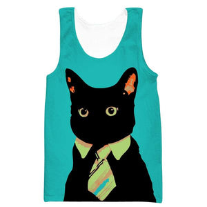 Business Cat Tank Top - Black Cat Clothing