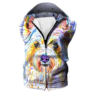 Colorful Dog Hooded Tank - Dog Printed Clothing