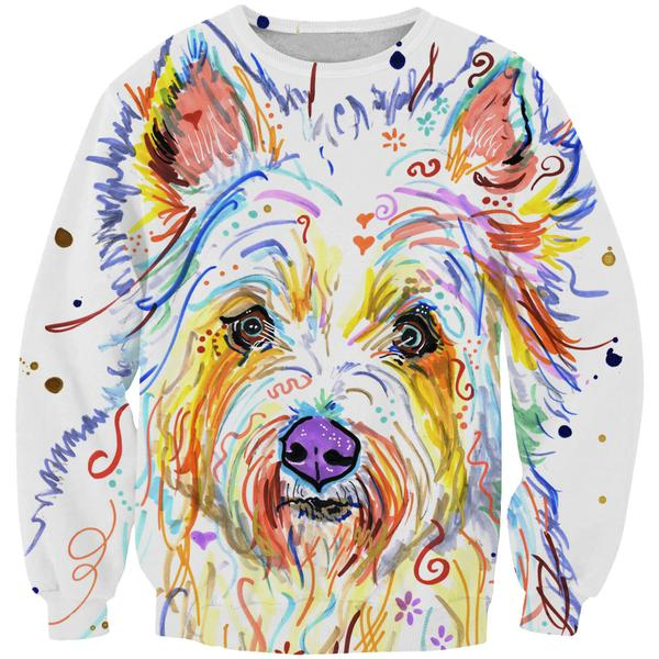 Colorful Dog Sweatshirt - Dog Printed Clothing - Hoodie Now