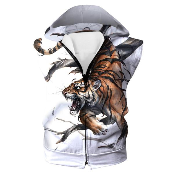 Cool Tiger Hooded Tank - Printed Tiger Clothes