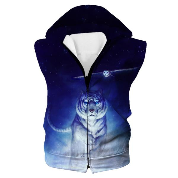 Space Tiger and Owl Hooded Tank - Printed Hoodies - Hoodie Now