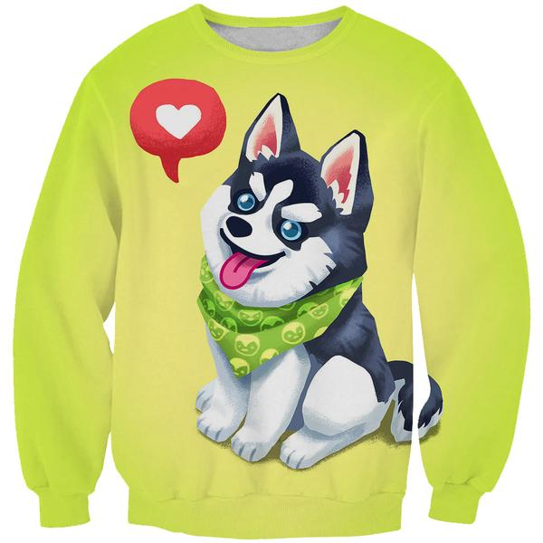 Cute Husky Sweatshirt - Cartoon Cute Husky Dog Clothes - Hoodie Now