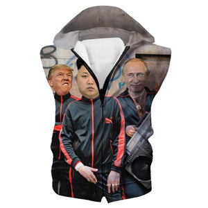 Donald Trump, Kim Jung Un and Putin Hooded Tank - Funny Printed Clothes - Hoodie Now
