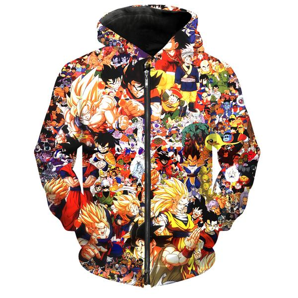 Dragon Ball All Characters Zip Up Hoodie - DBZ Clothing and Hoodies