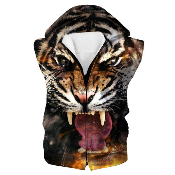 Fierce Tiger Hooded Tank - Tiger Clothing - Hoodie Now