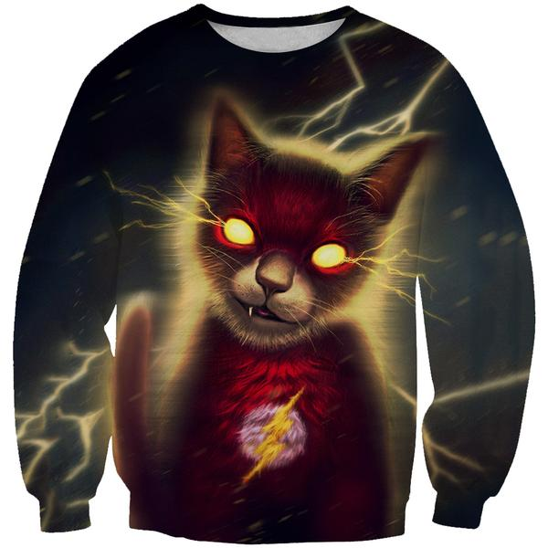 Flash Superhero Cat Sweatshirt - Crossover Animal Clothing - Hoodie Now
