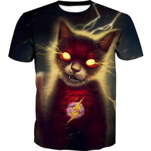 Flash Superhero Cat T-Shirt - Crossover Animal Clothing - Hoodie Now