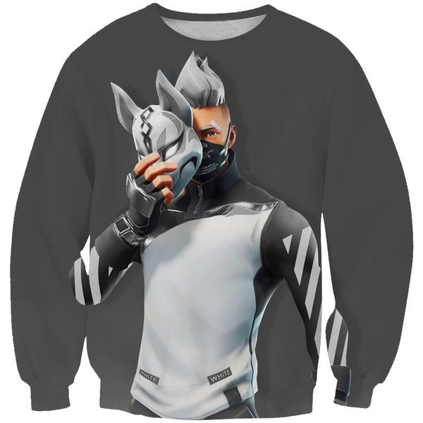 Fortnite Cosplay Off White Drift Sweatshirt - Fortnite Clothes