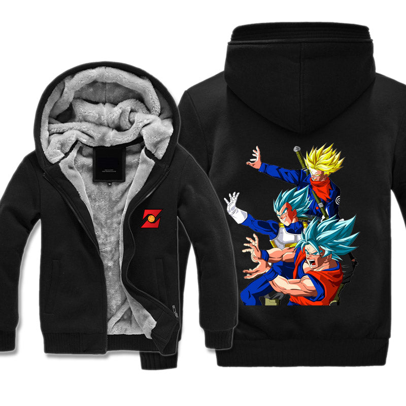 Dragon Ball Super Fleece Jacket - Trunks, Goku and Vegeta Jacket Hoodie - Hoodie Now