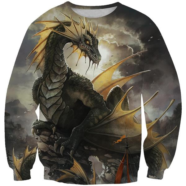 Green Dragon Sweatshirt - Fantasy Clothing - Hoodie Now