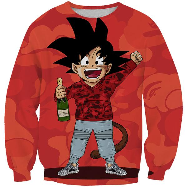 Kid Goku Bape Sweatshirt Cosplay - Dragon Ball Bape Clothes - Hoodie Now