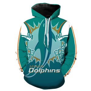 Miami Dolphins 3D Hoodie Pullover - NFL Football Hoodies