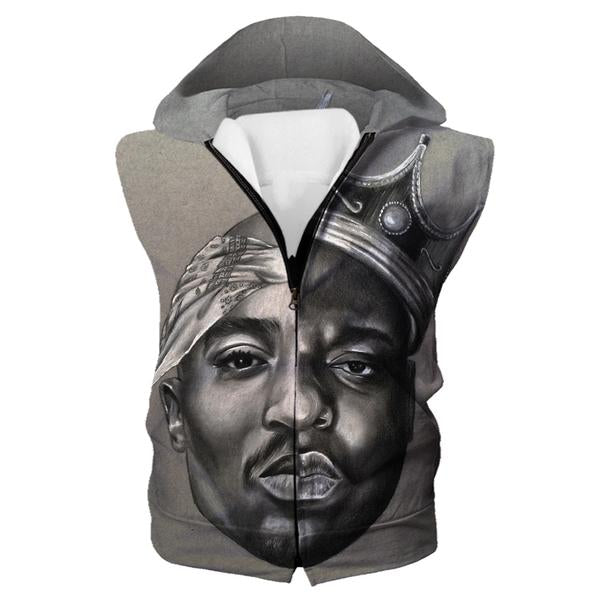 Notorious Big and 2Pac Hooded Tank - Biggie Smalls Tupac Clothes
