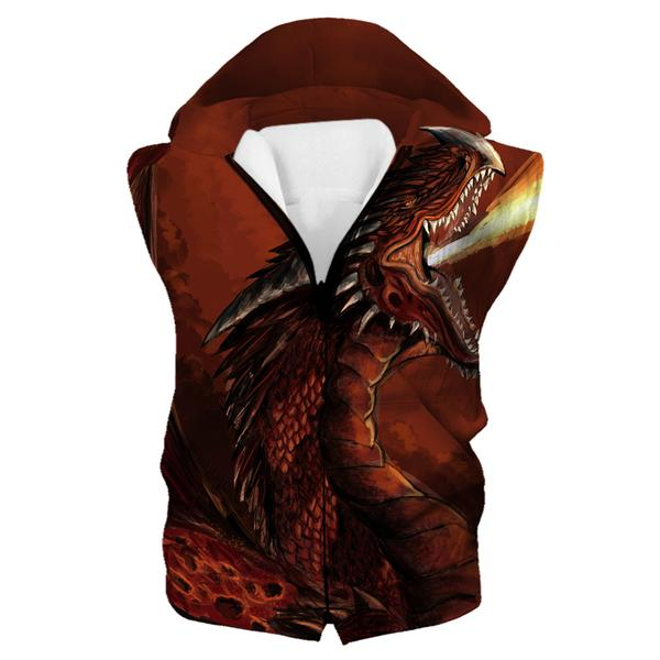 Red Fire Dragon Hooded Tank - Fantasy Clothing