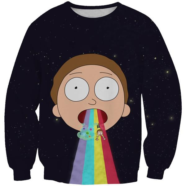 Rick and Morty Clothing - Morty Rainbow Sweatshirt - Hoodie Now