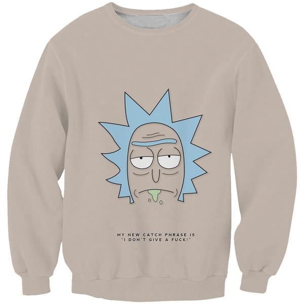 Rick and Morty Rick Face Sweatshirt - Rick and Morty Apparel - Hoodie Now