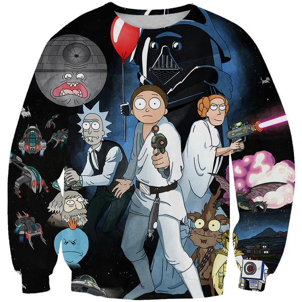 Rick and Morty Star Wars Sweatshirt - Rick and Morty x Star Wars Clothes - Hoodie Now