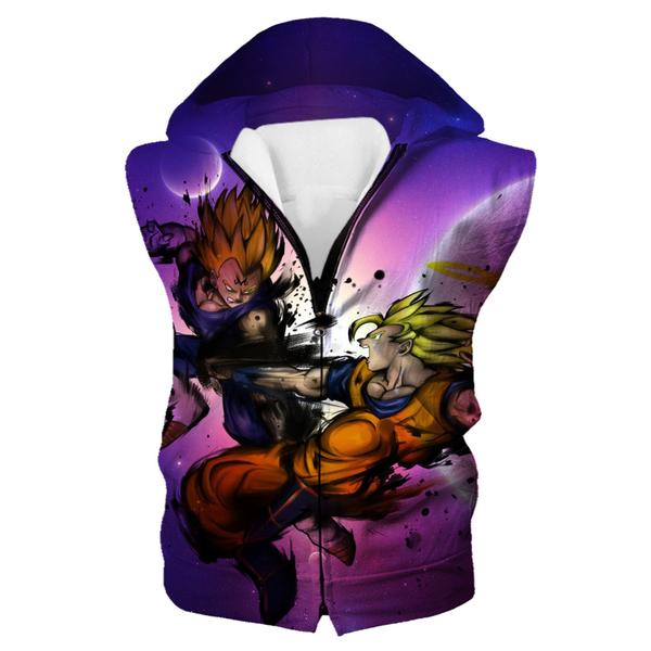 SSJ Goku vs Majin Vegeta Hooded Tank - Dragon Ball Z Clothing - Hoodie Now