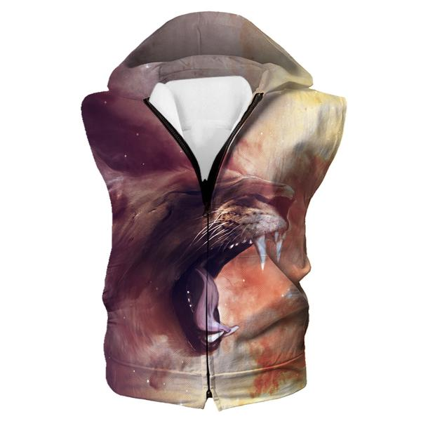 Saber Tooth Tiger Hooded Tank - Epic Tiger Clothes - Hoodie Now