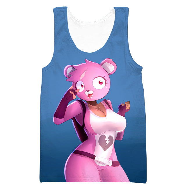 Fortnite Sexy Pink Bear Tank Top - Fortnite Clothing and Gym Shirts