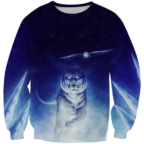 Space Tiger and Owl Sweatshirt - Printed Shirts - Hoodie Now
