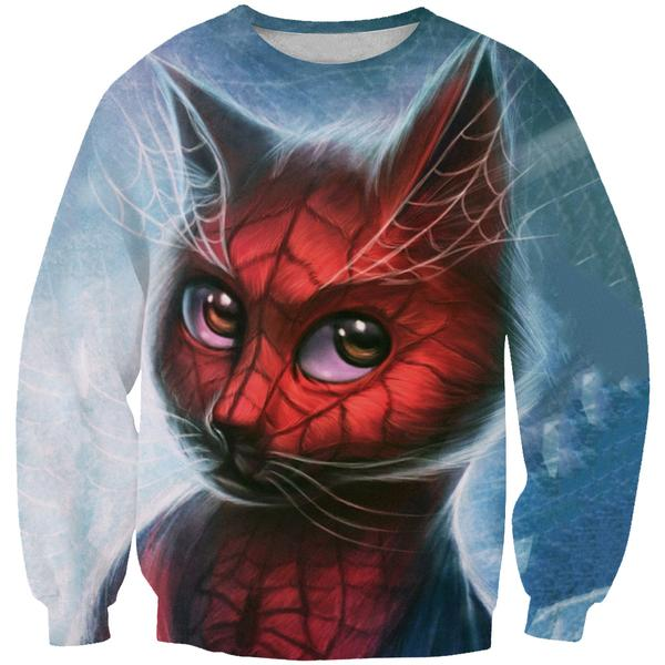 Spiderman Style Cat Sweatshirt - Superhero Cat Clothing - Hoodie Now
