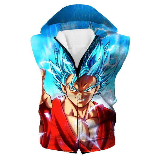 Super Saiyan Blue Goku Hooded Tank - Dragon Ball Super Clothing