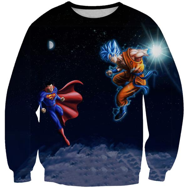 Superman Vs Goku Sweatshirt - Dragon Ball x Superman Cross Clothes