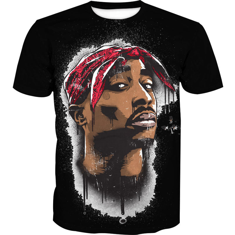 Black Tupac T-Shirt - 2Pac Face Clothing and Shirts