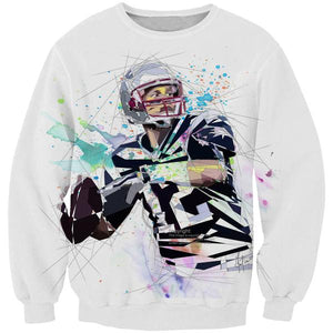 Tom Brady Sweatshirt - White Tom Brady Clothing - Football - Hoodie Now
