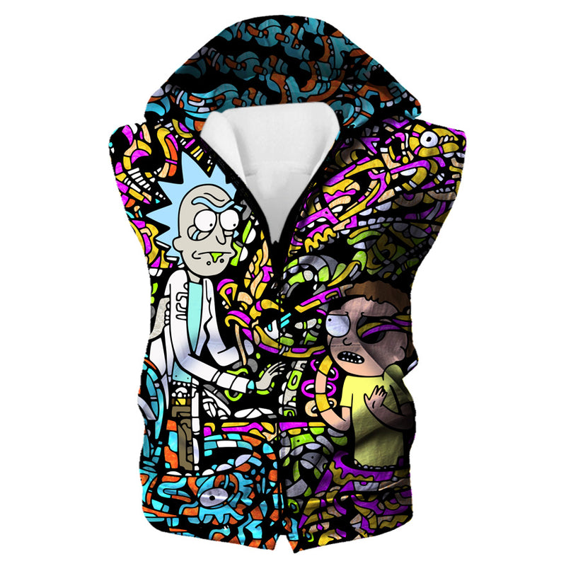 Rick and Morty Trippy Acid Hooded Tank - Trip Cartoon Clothing - Hoodie Now