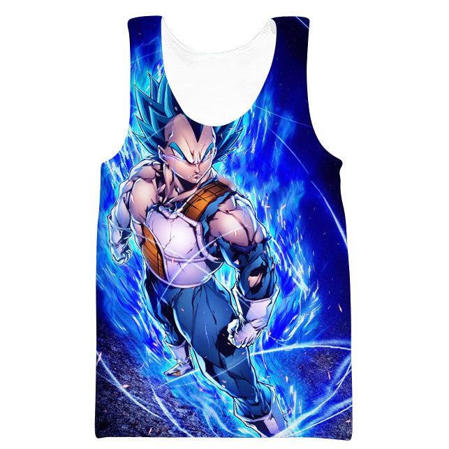 Super Saiyan Blue Vegeta Tank Top - Dragon Ball Super Vegeta Gym Shirts