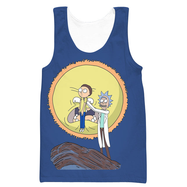 Rick and Morty Lion King Tank Top - Funny Screaming Sun