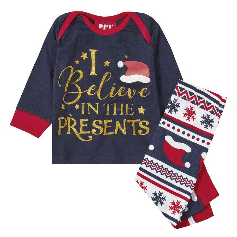 """I believe in the presents"" - Infant family Christmas pyjama set (Age 0-24 months)"