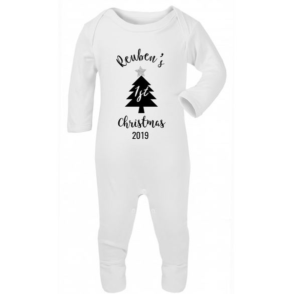 "Personalised ""My First Christmas"" - sleepsuit - newborn to 12 months -  Christmas Tilly & Reuben Charity Design © 2019"
