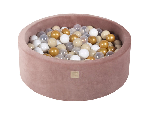 Teddy Beige 90cm Premium Plush Velvet Round Foam Filled Ball Pit Pool (30cm height) - 250 balls