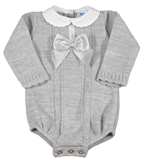 New baby - Grey knitted peter pan collared cable knitted romper (0-9 months)