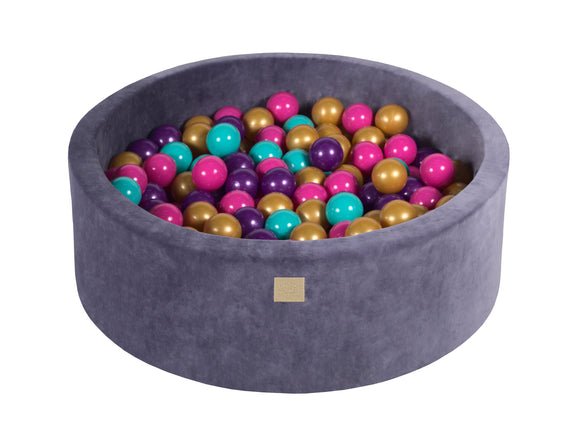 Graphite 90cm Premium Plush Velvet Round Foam Filled Ball Pit Pool (30cm height) - 250 balls