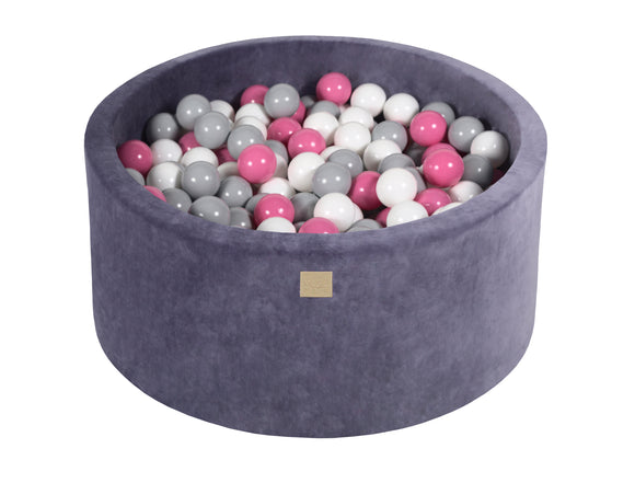Graphite 90cm Premium Plush Velvet Round Foam Filled Ball Pit Pool (40cm height) - 250 balls