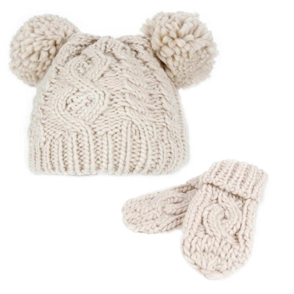 Cable Knitted Pom Pom hat and mitten set (0 to 2 years) - beige