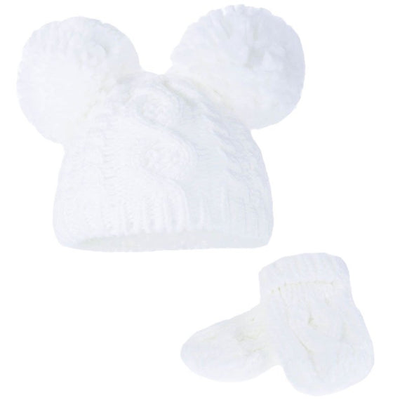 Cable Knitted Pom Pom hat and mitten set (0 to 2 years) - white
