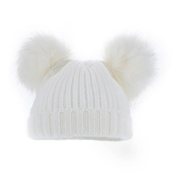 White fluffy oversized Pom Pom ribbed knit hat - white (0-6 months)