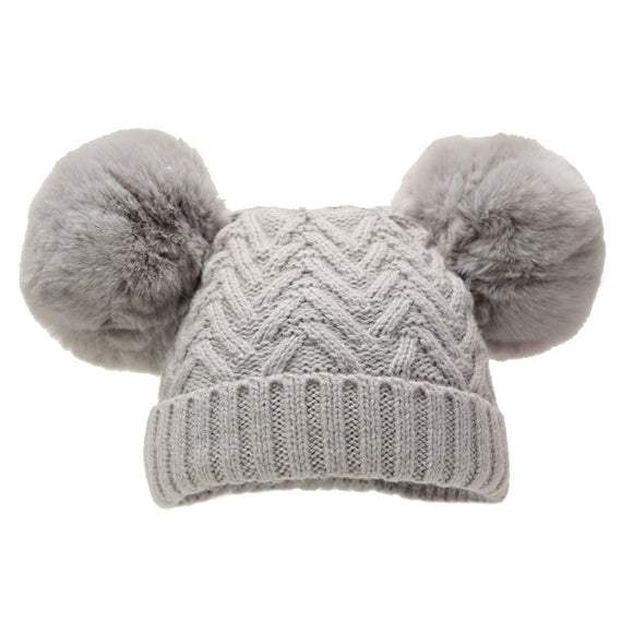Grey chevron knit double Pom Pom Hat (0 - 18 months)