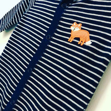 Navy stripe fox feet finders baby grow sleepsuit (0 to 12 months)