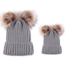 Mama and Me - Grey Matching Double Pom Pom Knitted Hat - adult and baby sizes available - sold separately