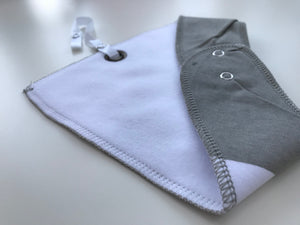 Grey animal fleece-lined cotton dribble bib with soother holder