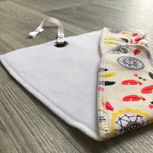 Bright dream catcher fleece-lined cotton dribble bib with soother holder