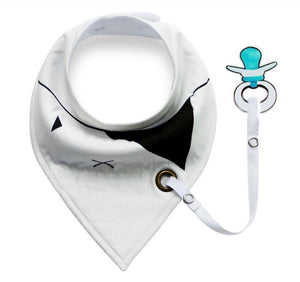 Monochrome pirate fleece-lined cotton dribble bib with soother holder