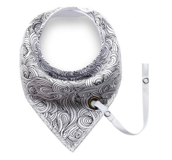 Black monochrome swirl print fleece-lined cotton dribble bib with soother holder